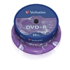 DVD+R, 16x, Branded, Silver Non Print Surface 25pk